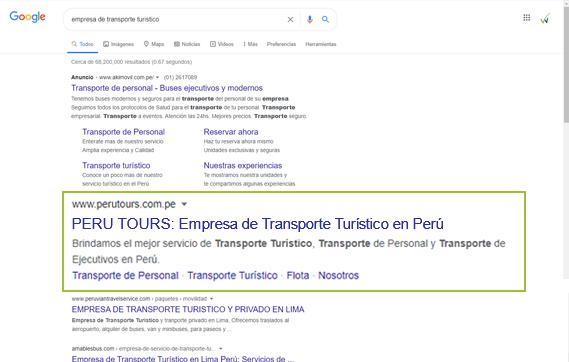 Posicionamiento web seo Perú Tour